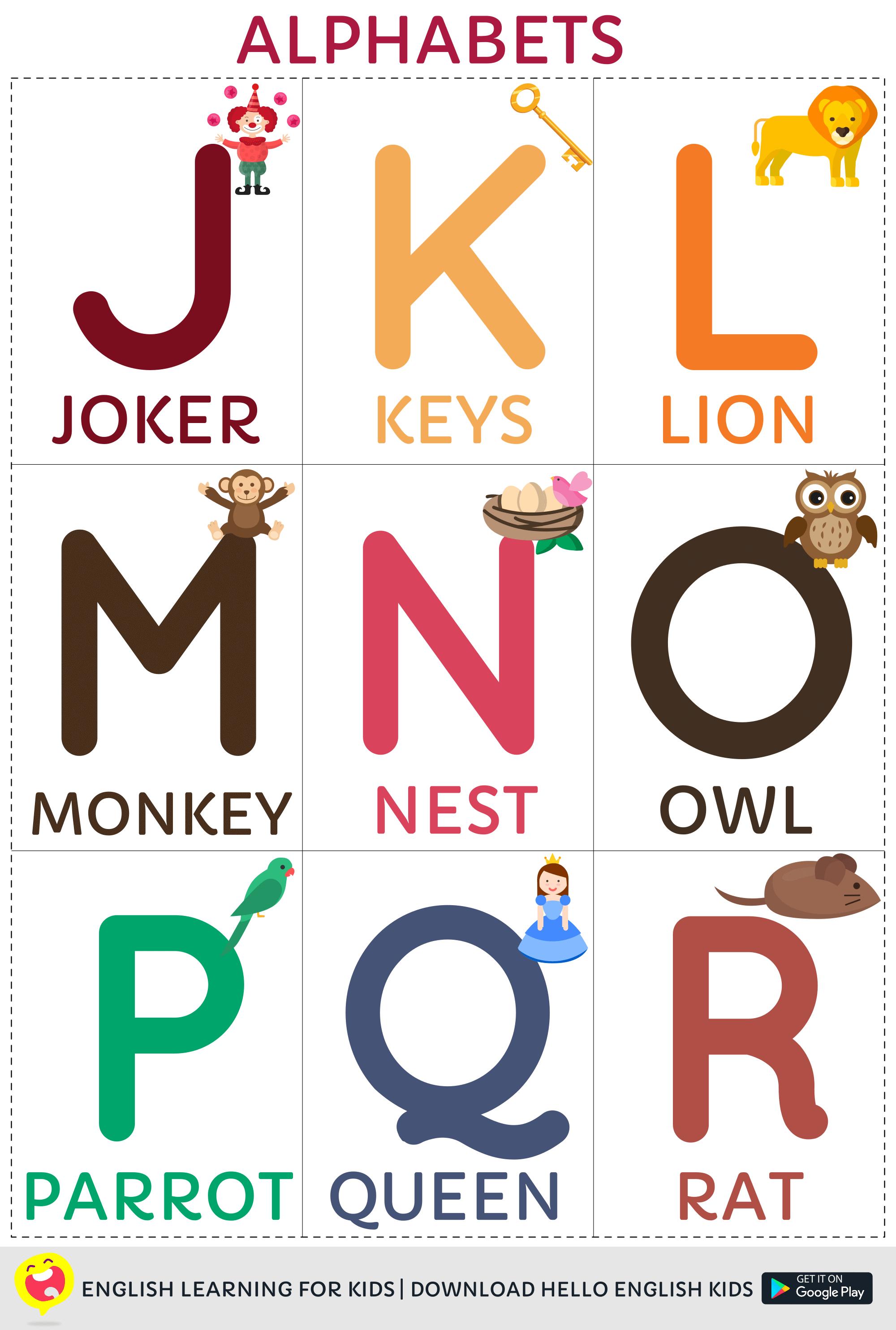 Hello English Kids Printable - A-Z Alphabets - Kids App by HelloEnglish